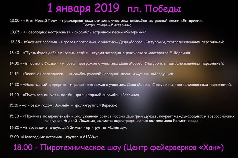 программа нового года Калининград